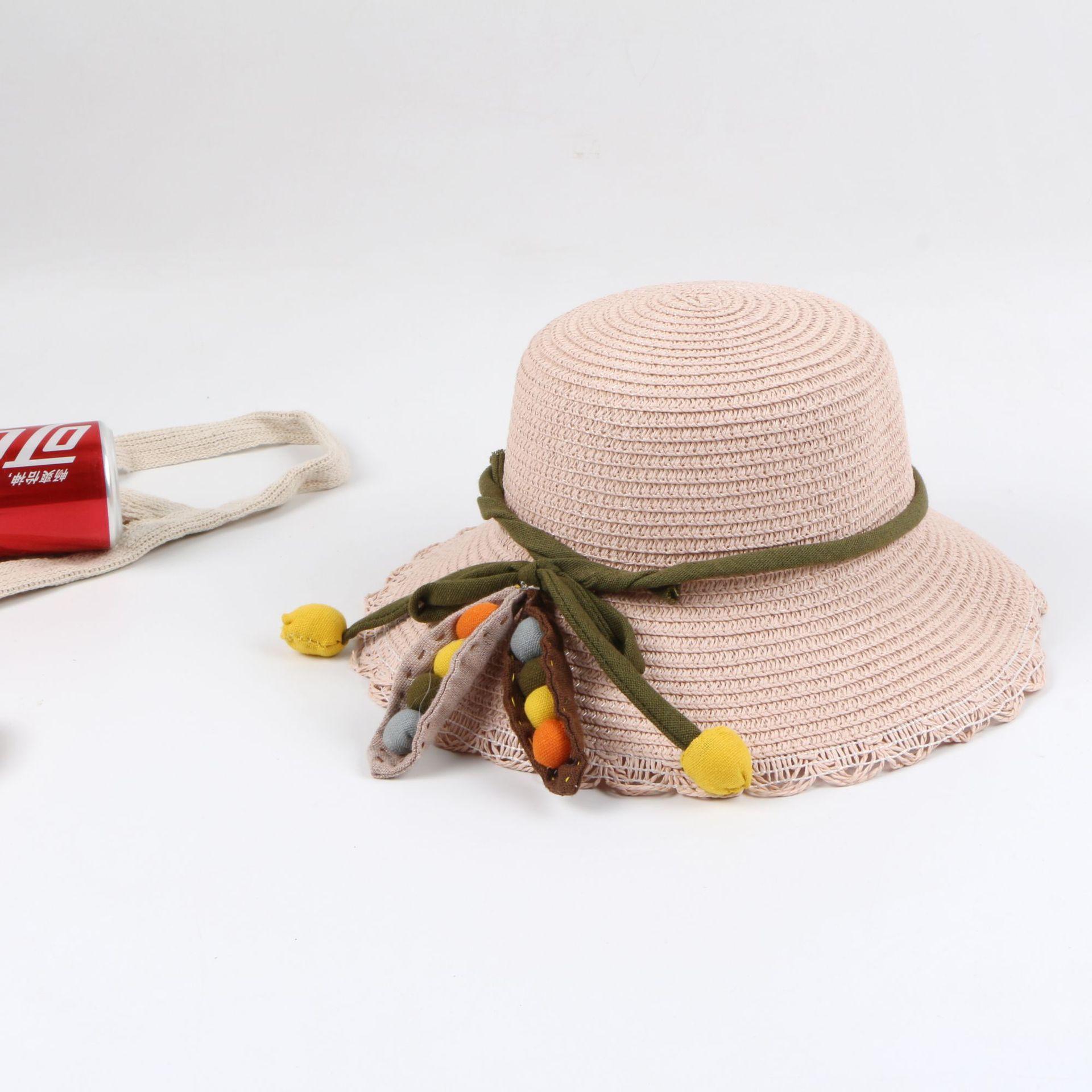 Children's straw hat female summer sun protection Princess Korean beach sun hat child straw hat folding sun hat NHTQ206936