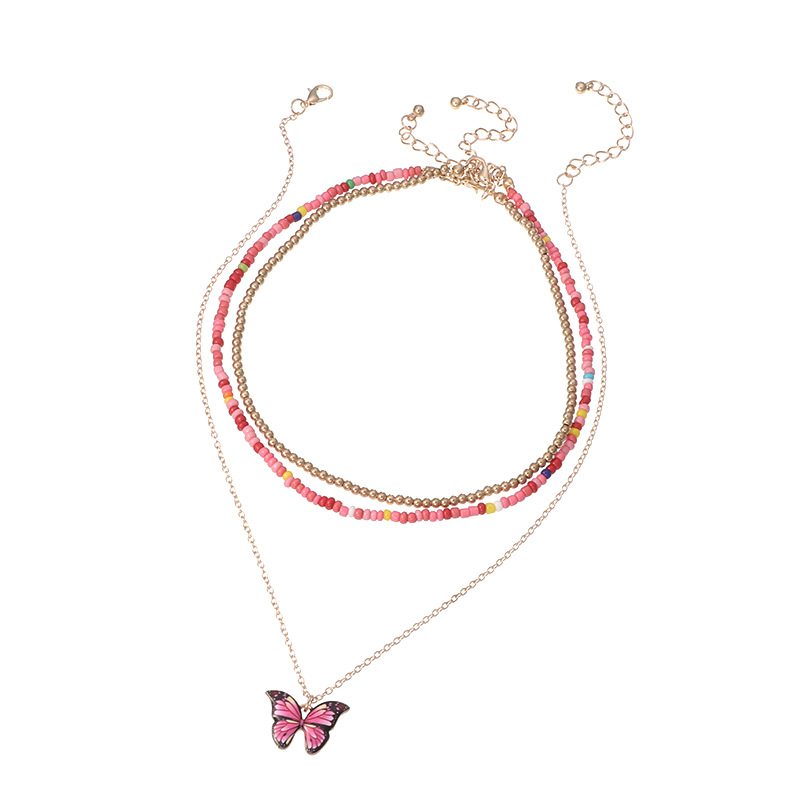 jewelry color rice beads choker necklace fashion butterfly necklace wholesale nihaojewelry NHNZ236484