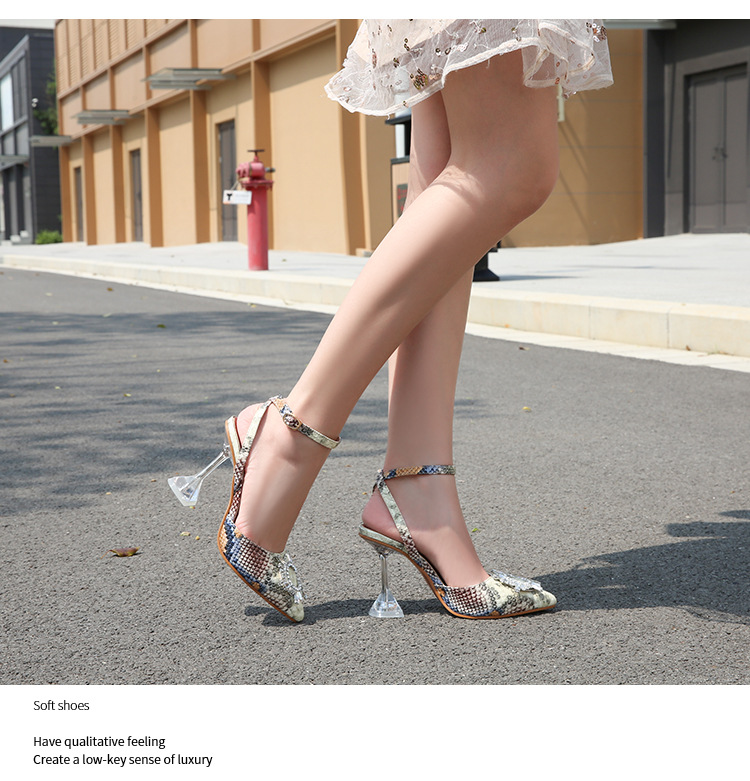 Summer fashion snake pattern Baotou sandals women's word buckle rhinestone pointed high heels high heels NHEH206279