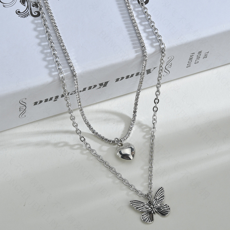 Hot selling fashion love butterfly necklace wholesale NHHF258418
