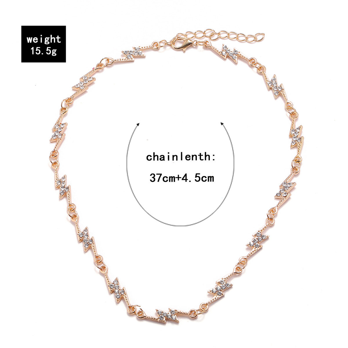 new single-layer electroplating diamond-studded lightning women's necklace wholesale nihaojewelry NHPV243724