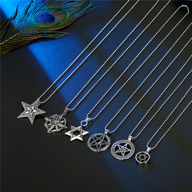 punk  six-pointed star hollow star compass necklace NHGO286917