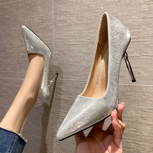 8111-7 han edition fashion pointed shallow mouth high-heeled shoes sexy show thin net red shoes heel temperament banquet for women's shoes