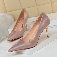 17189 - A1 European and American wind metal with high shining with shallow mouth pointed high heels for women's shoes sexy women's singles party shoes