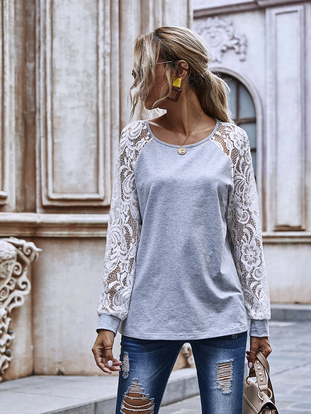 hollow lace sleeve round neck sweater women new casual top wholesale NHDF56