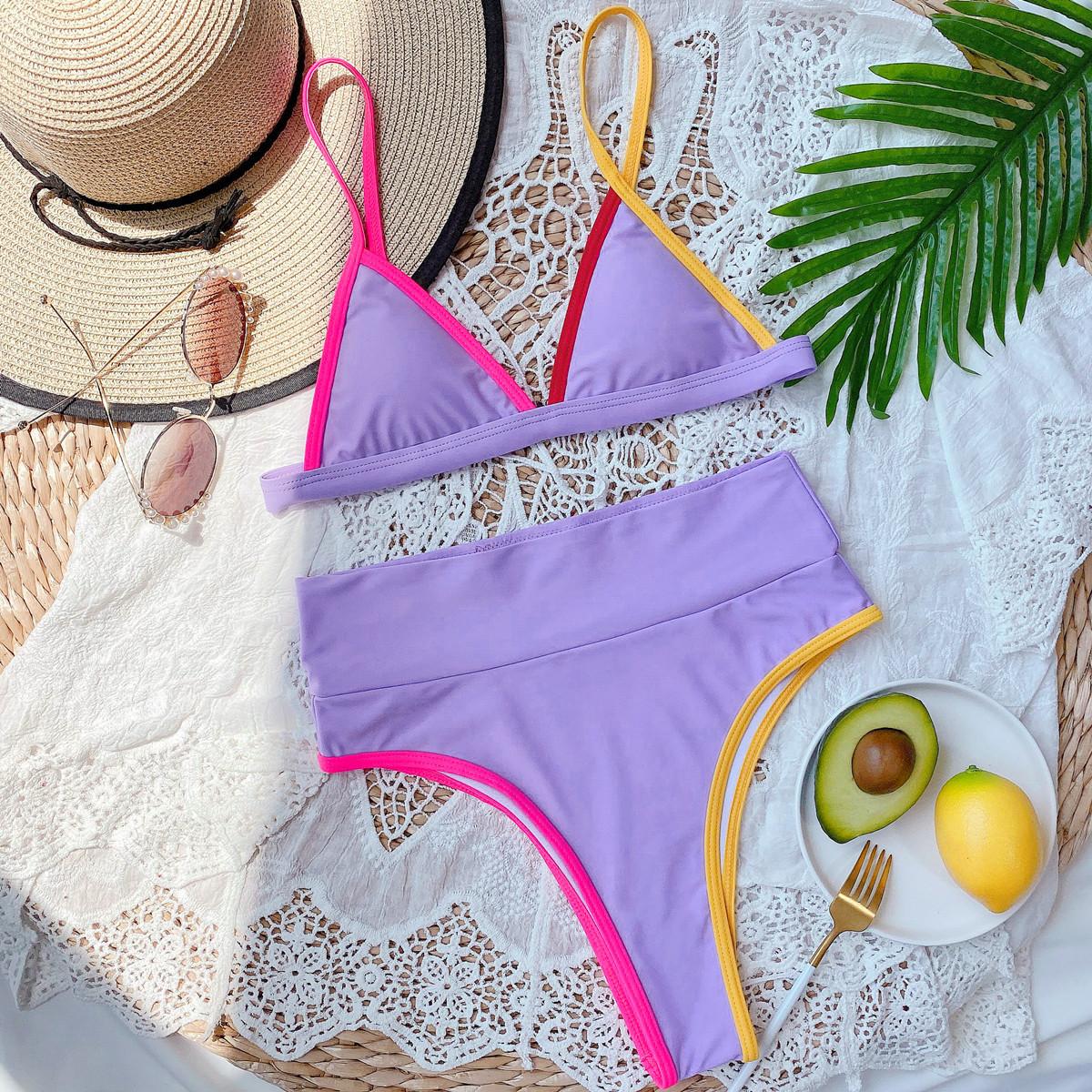 Hot Style Pure Color Bikini Ladies Split Swimsuit Triangle Bikini wholesale NHDA77