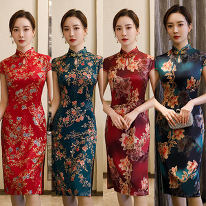 Chinese Dress Qipao for women cheongsam Seasonal large size cheongsam retro cheongsam skirt