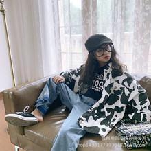 6件起批女童外套2021春装新款韩版洋气女孩奶牛纹宽松款夹克上衣