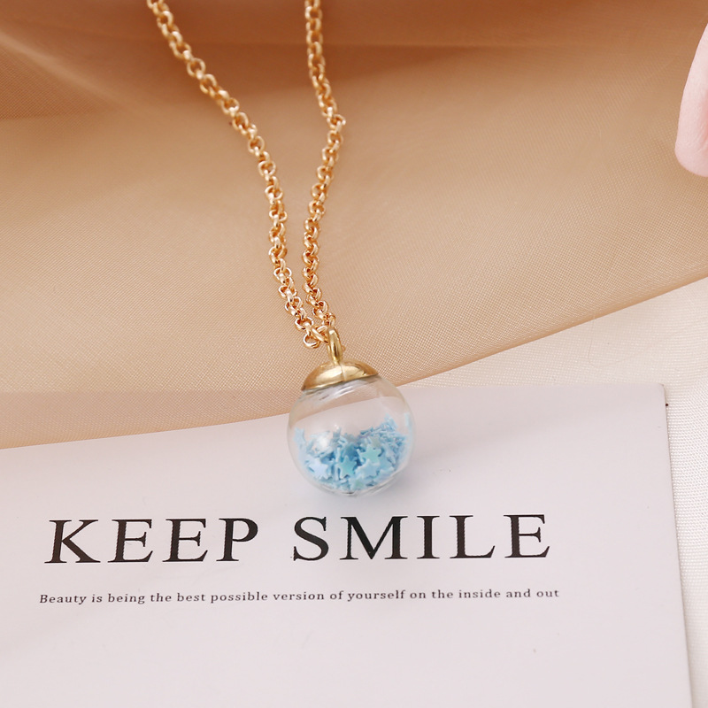 simple fluorescent fivepointed star glass ball pendent necklace  NHBW370640