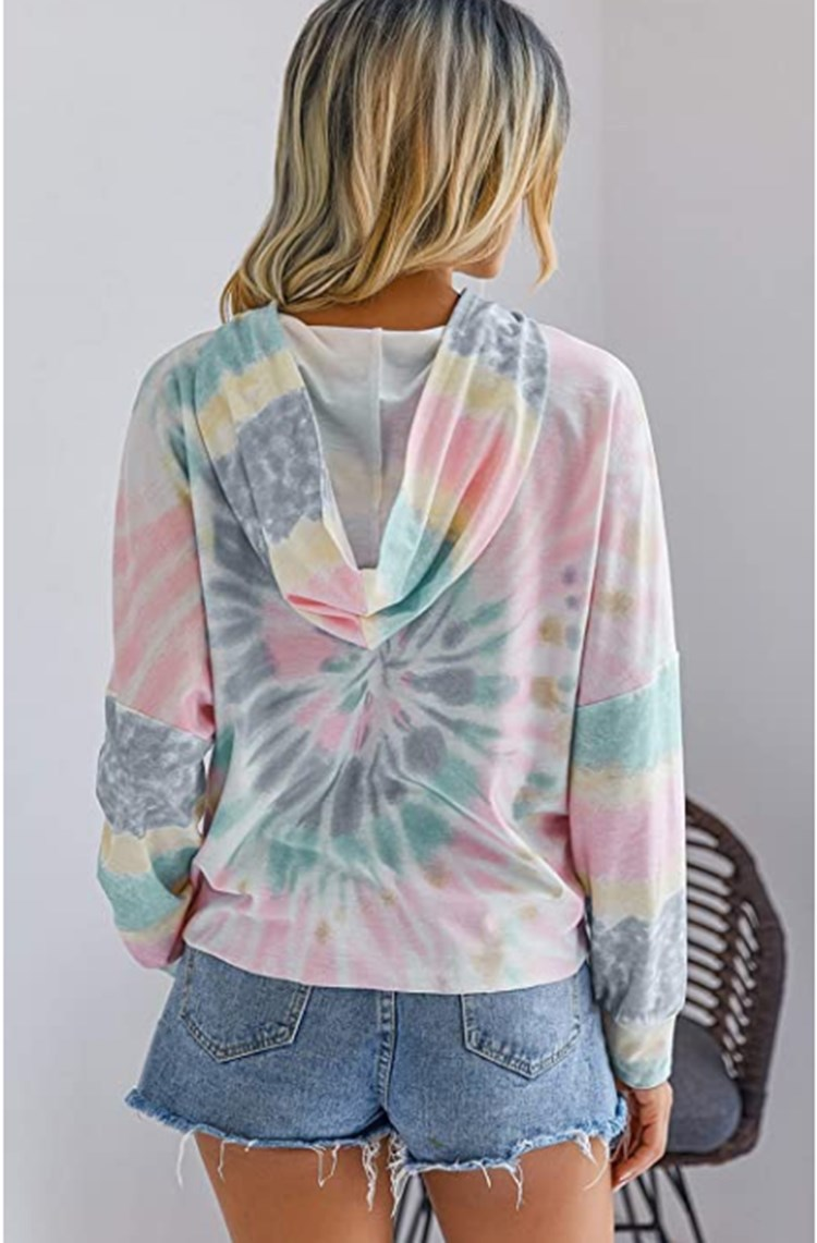 women's tie-dye printing hooded long-sleeved T-shirt sweater  NSYF841