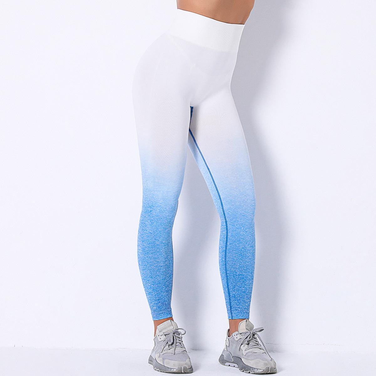 hanging-dyed gradient seamless hollow yoga pants  NSLX9056