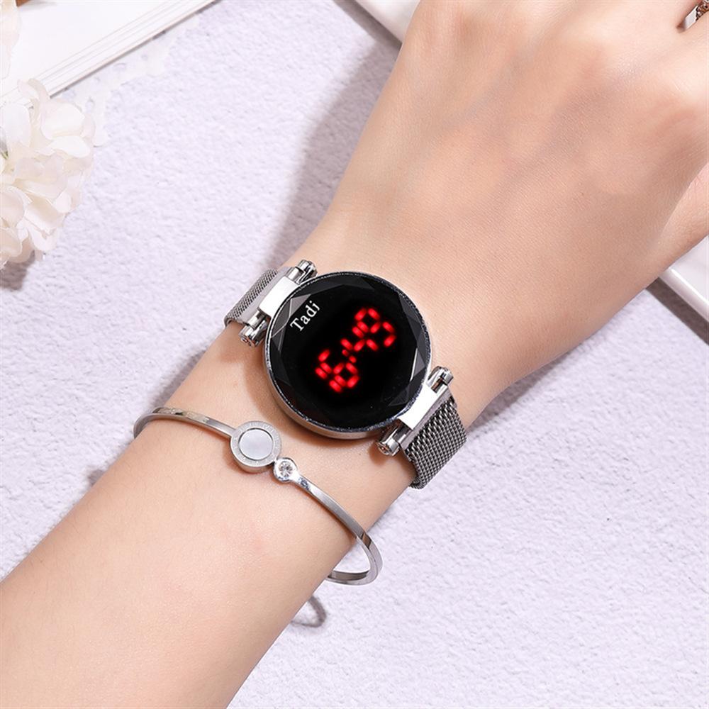 Touch screen LED electronic watch LED magnetite mesh belt watch fashion ladies decorative bracelet watch  NHSS216370