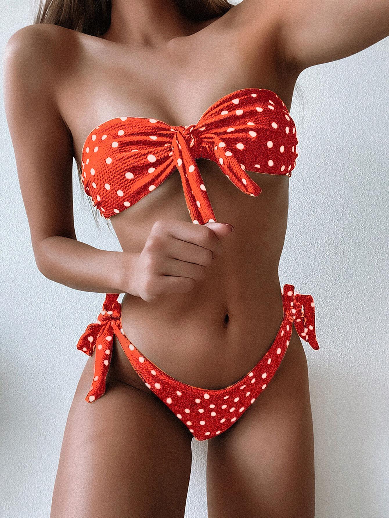 Bikini swimsuit dot print sexy bikini split bikini NHDA206249