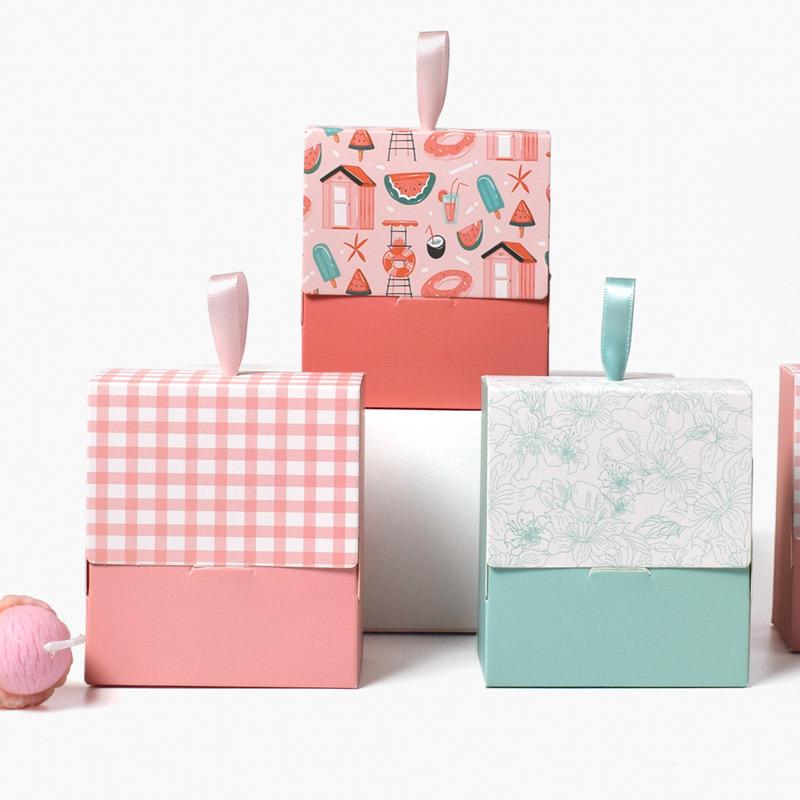 森系迷你粉色少女口红包装盒现货迷你复古小巧赠品折叠手提包装袋
