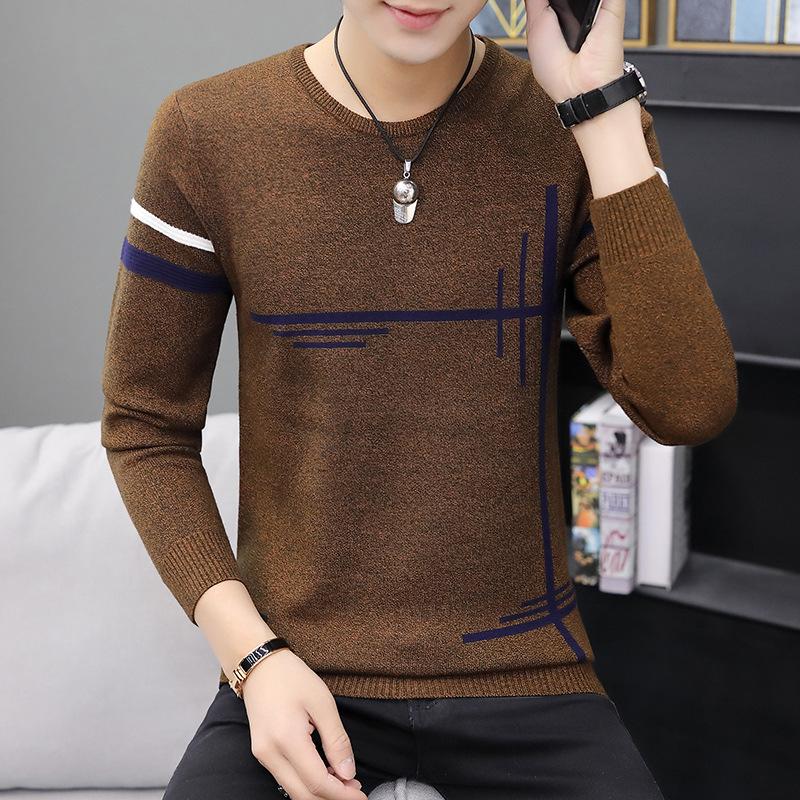 秋冬季男士毛衣韩版潮流个性圆领针织打底衫修身加绒加厚线衣男装
