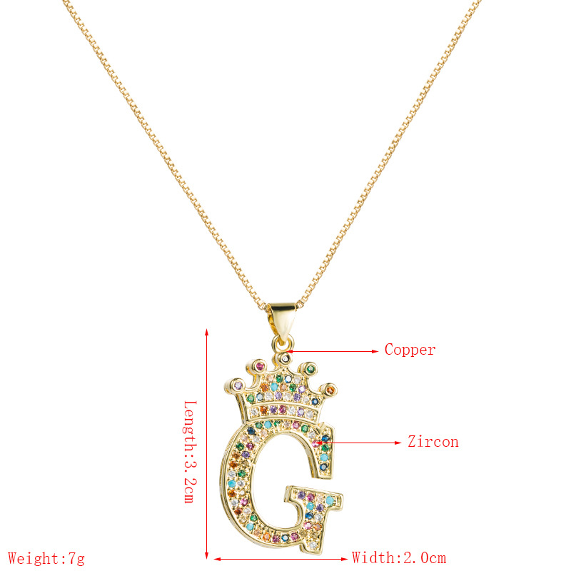 brass color-preserving micro-inlaid zircon pendant 26 English letter necklace  NHLN273710