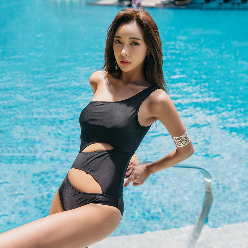fashion slim black one-shoulder hollow sexy one-piece swimsuit  NSHL3969