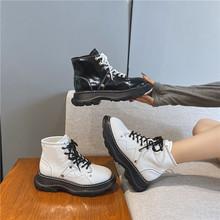古力娜扎同款马丁靴女真皮松糕厚底高帮短靴加绒潮个性帅气机车靴