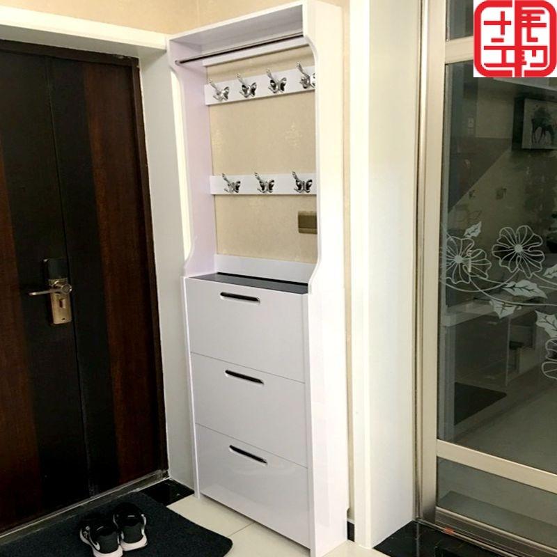 。鞋柜#超薄翻斗材質簡約門廳柜玄關柜實木鞋柜掛衣架烤漆