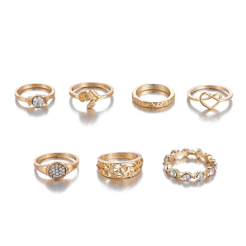 new jewelry fashion popular diamond love ring set flower heart-shaped ring 7 piece set wholesale nihaojewelry  NHGY219086