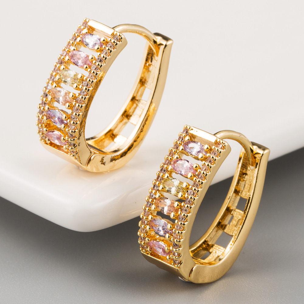 Korean earrings female earrings copper inlaid zircon plating 18K real gold gold French earrings NHLN205790