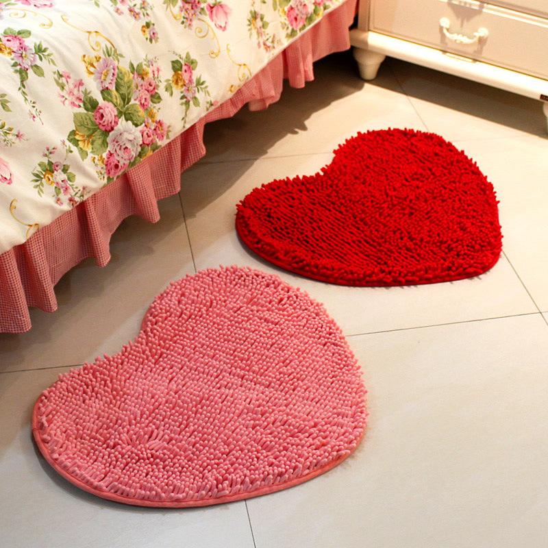 地毯ins装饰婚房毛毛虫雪尼尔北欧心形卫生间家用机器织造简约地