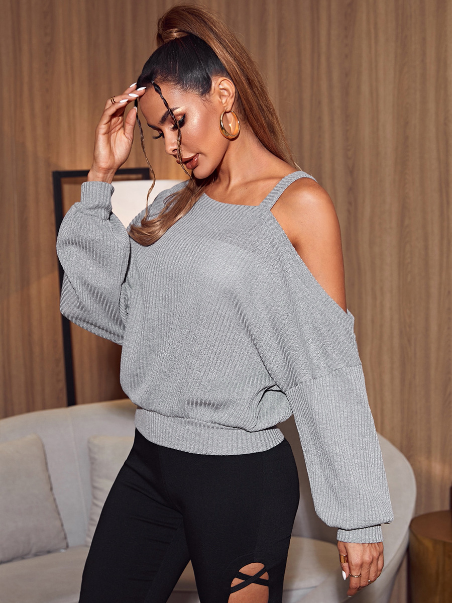 autumn and winter new hollow hanging neck strapless loose long-sleeved T-shirt  NSAL1951