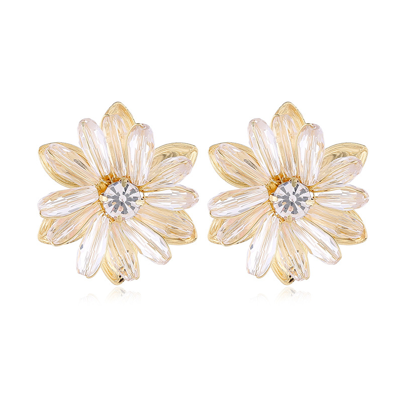 fashion exaggerated flower simple rhinestone earrings nihaojewelry wholesale NHVA215025