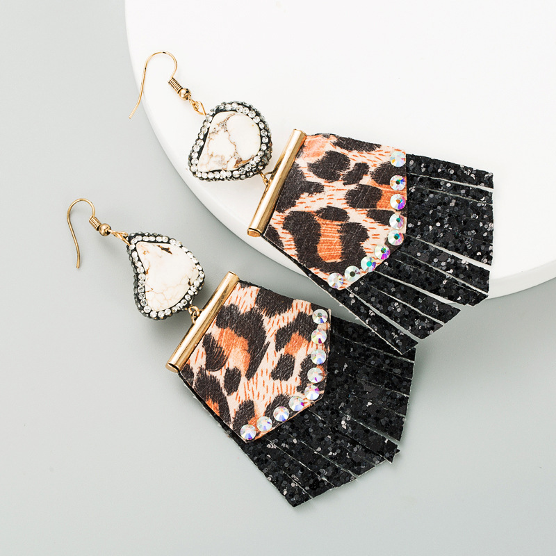 leopard print leather diamond earrings  NHLN291526