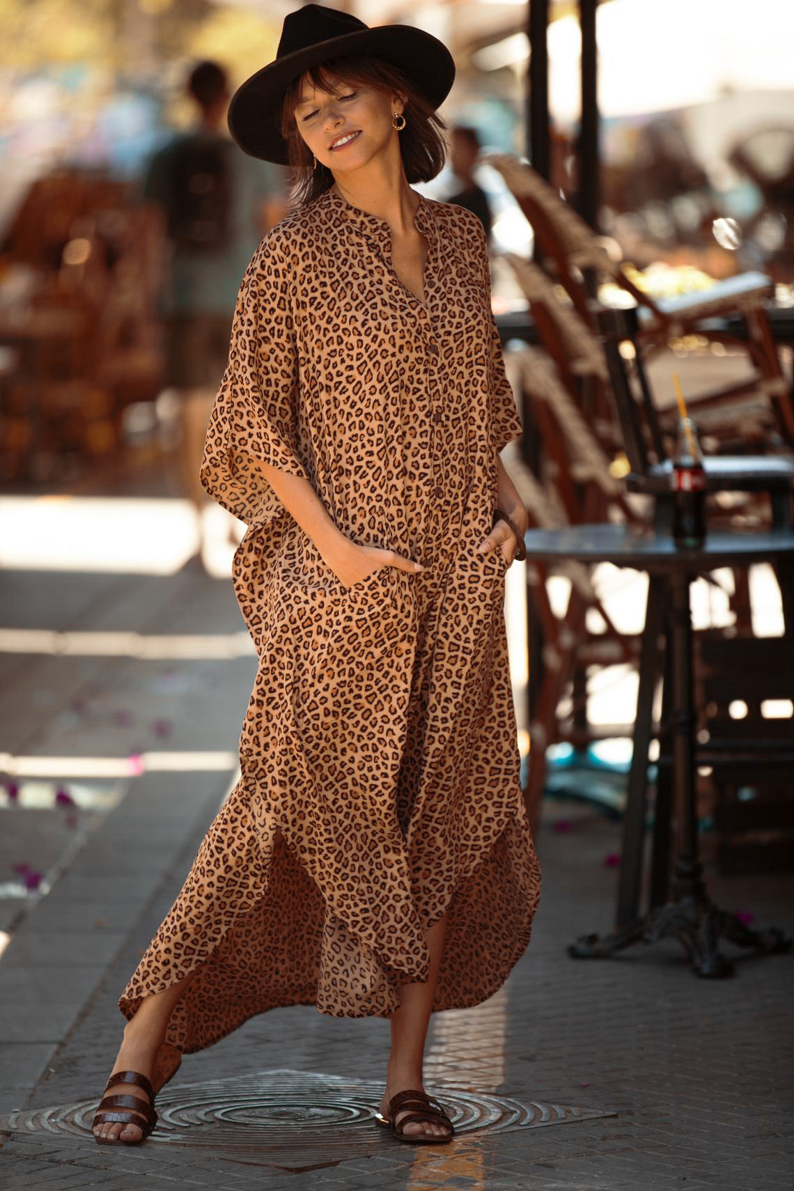 New Leopard Dot Cardigan Vacation Long Skirt Beach Cover dress wholesale nihaojewelry NHXW243960