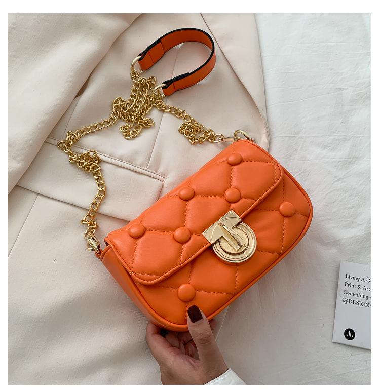 Summer new Korean fashion western fashion wild rhombic embroidery thread chain lock sling shoulder small square bag wholesale nihaojewelry NHPB220817