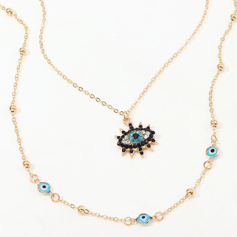 Jewelry Fashion Vintage Studded Devil's Eye Necklace Eye Pendant Clavicle Chain NHNZ195978
