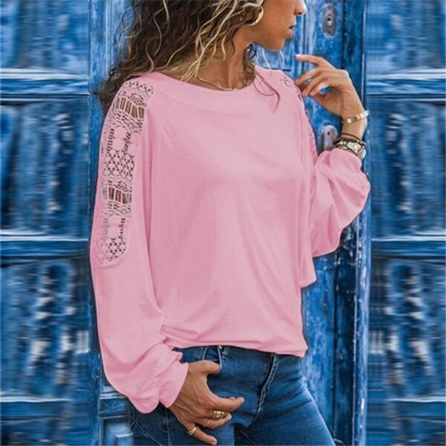 autumn and winter new round neck fashion lace stitching long-sleeved T-shirt NSYF861