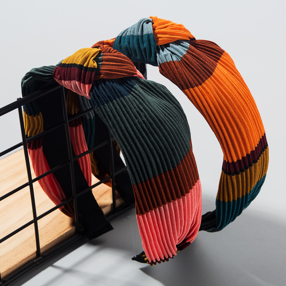 Korean fashion simple headband female retro contrast color stitching striped headband female knot bow large wide-brimmed hair accessories NHLN207073