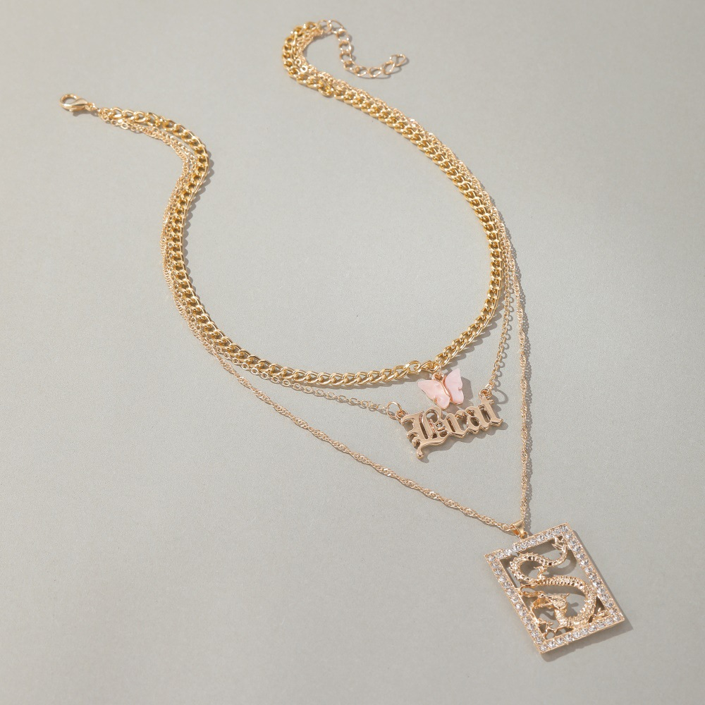 new long necklace creative small butterfly cross letter pendant multi-layer sweater chain wholesale nihaojewelry NHMO240361