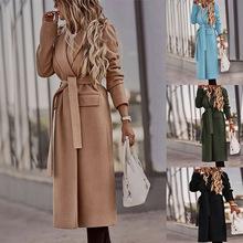 2021修身型氣質通勤歐美新款翻領開衫純色長袖毛呢大衣外套女裝
