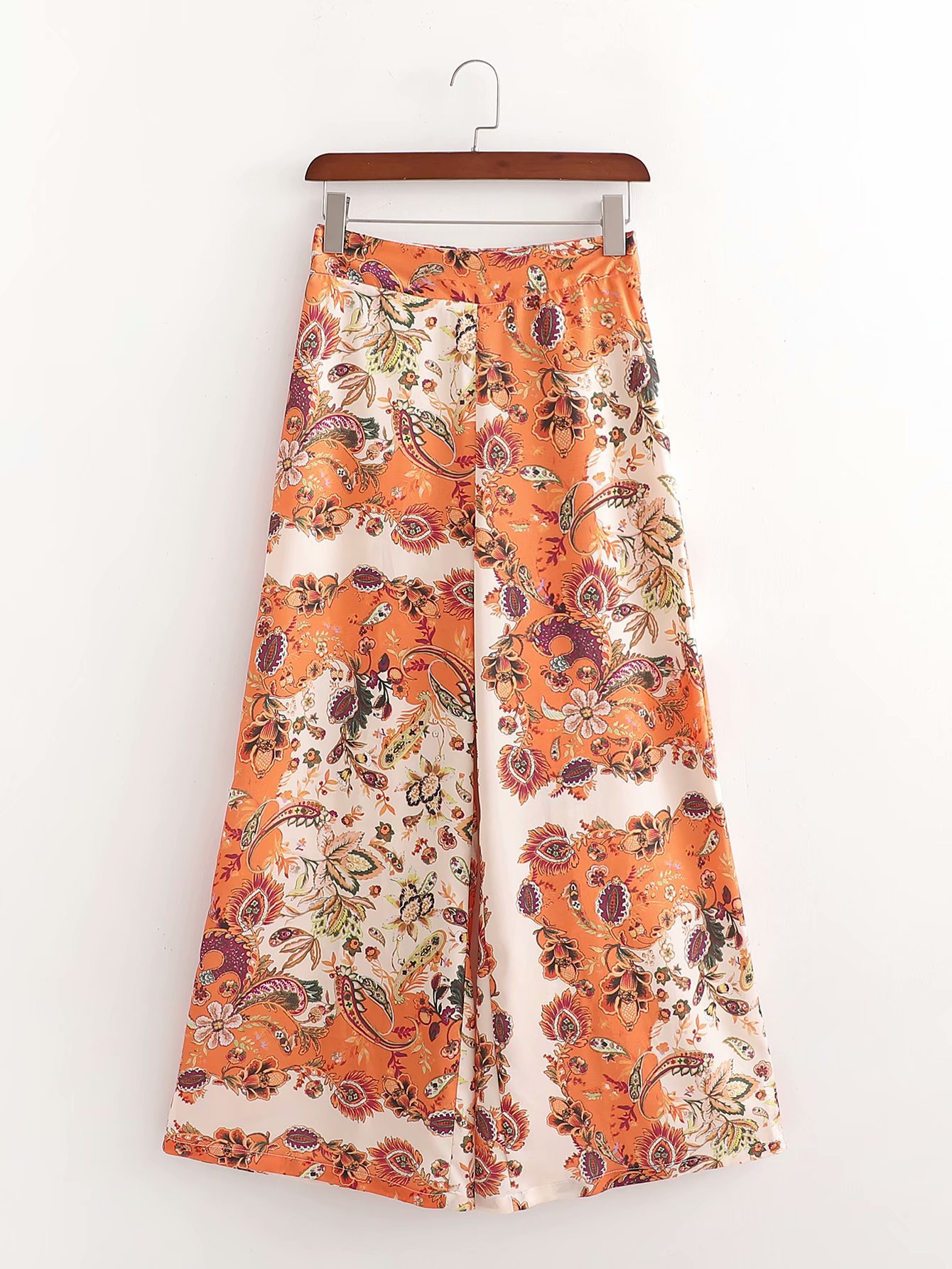 wholesale autumn flower print high waist drape wide leg trousers womens casual pants  NHAM246435