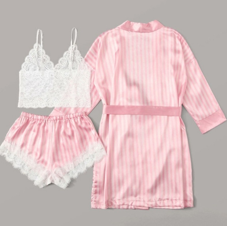 New Sexy Pajamas Stretch Satin Pink Striped Jacket Lace Sexy Suit