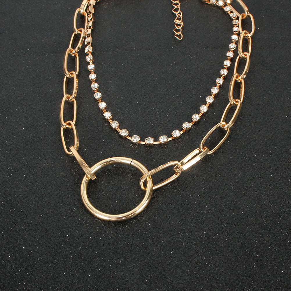 simple retro alloy ring pendant double diamond necklace jewelry chain necklace NHCT263201