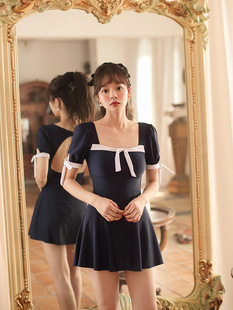 South Korea ins sexy fairy fan one-piece dress style is thin and half-sleeved half-sleeved student cute 2021 new swimsuit female