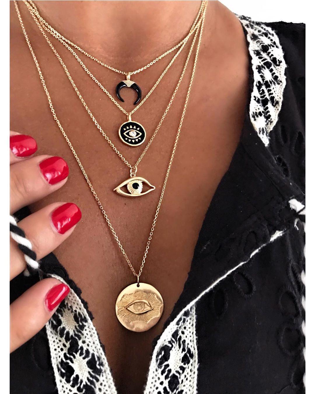 fashion  diamond eyes multilayer womens necklace NHAJ287604
