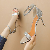 8090-3 in Europe and the sexy peep-toe heels word show thin sandals, heel joker sequins professional OL for women's shoes