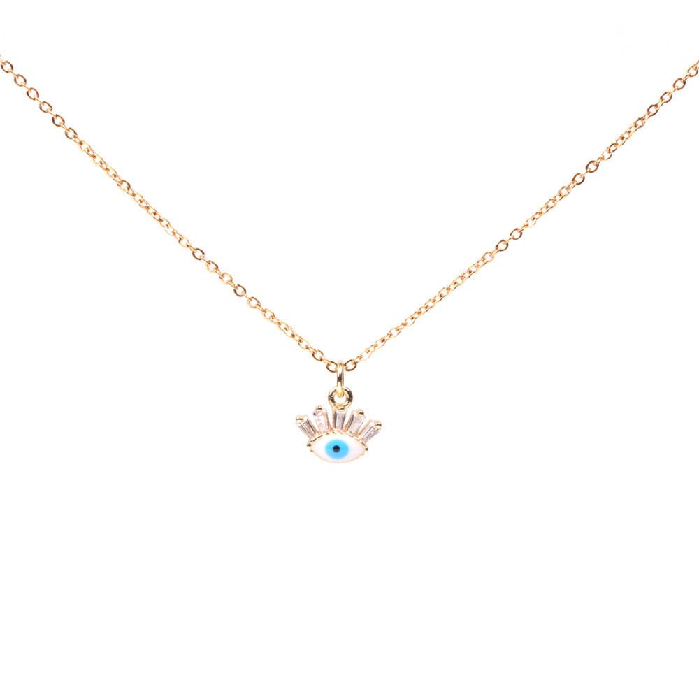Hot Accessories Micro Inlaid Zircon Devil's Eye Blue Eye Necklace Women's Clavicle Chain Wholesale NHPY196579