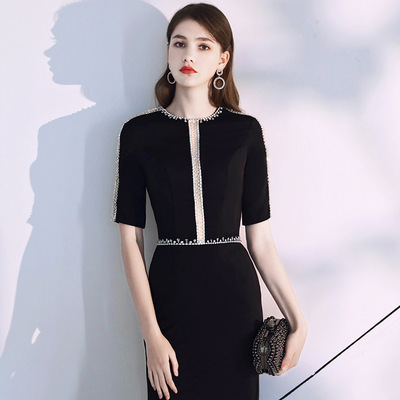 Evening dress female high end atmosphere black dress long banquet dress