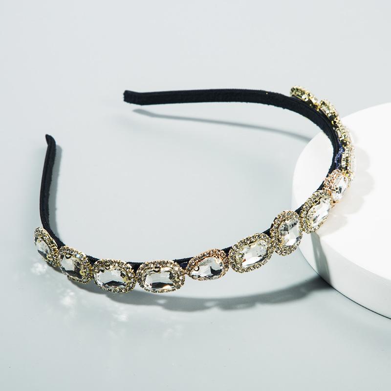 Korean new fashion simple retro hair accessories super flash glass diamond thin edge hair band NHLN212999