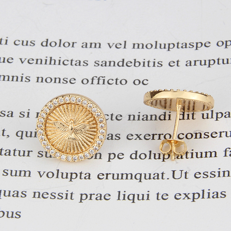 hot sale inlaid zirconium round holy bird new religious holy eagle copper earrings NHBP243469