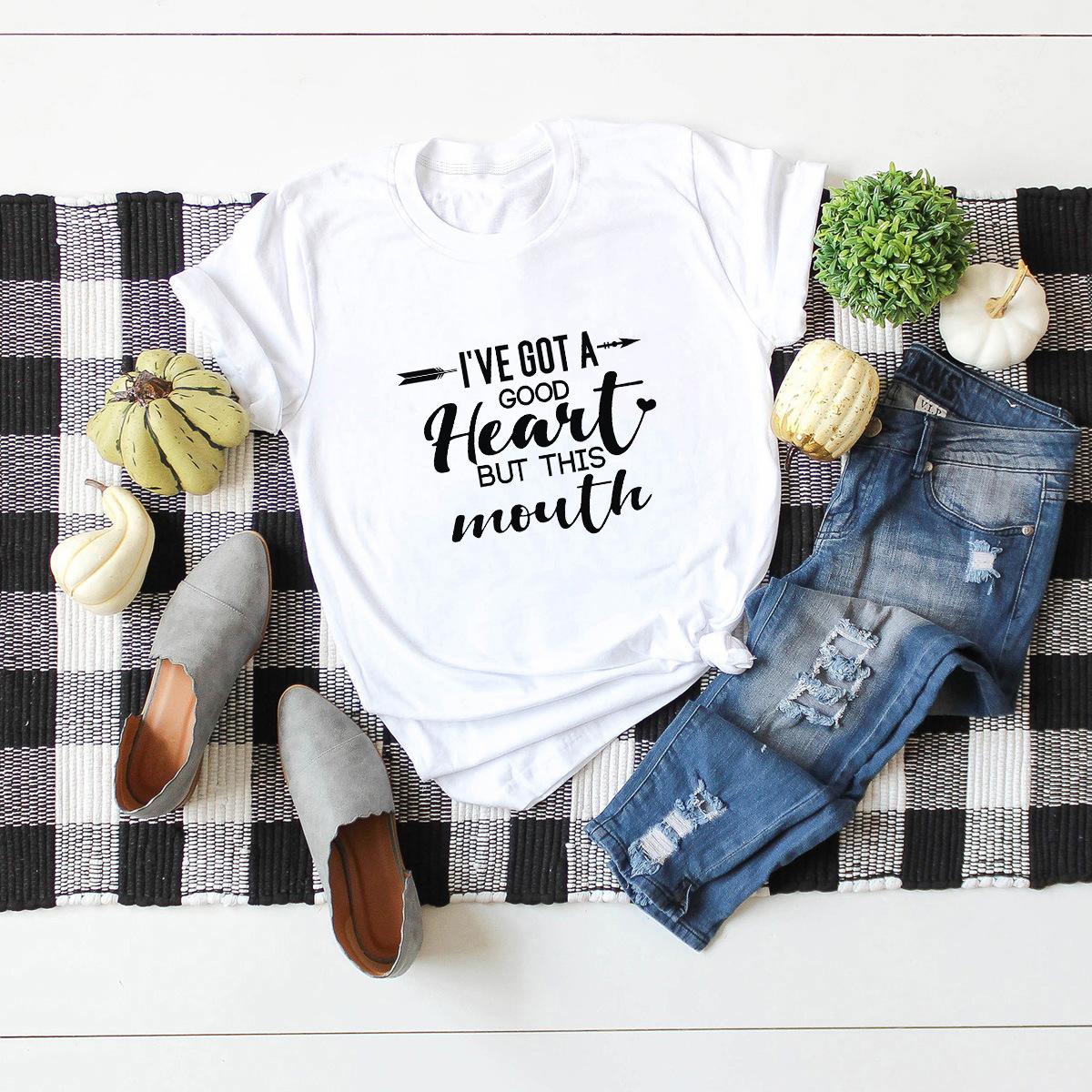 hot letters comfortable short-sleeved T-shirt for women NSSN896