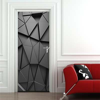Creative 3D door stickers personality black geometric abstract polygon wooden door renovation background wall stickers