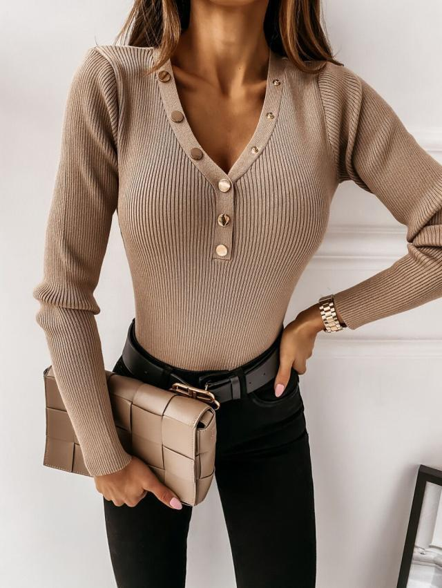 autumn and winter new V-neck button solid color base shirt NSYF4055