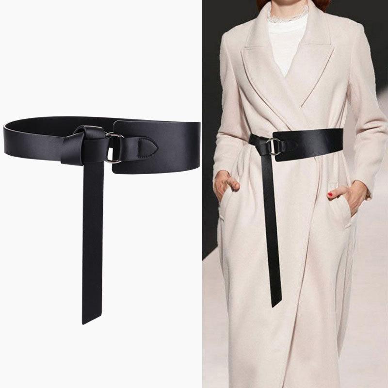 新款秋冬真皮腰带女士打结牛皮带女百搭配裙子宽腰带女式装饰腰封